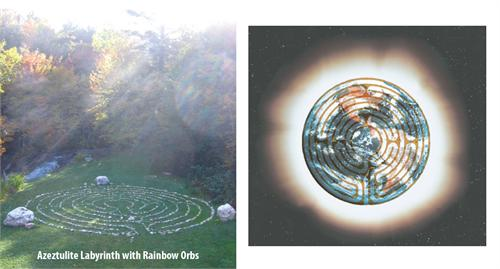 Azeztulite Labyrinth with Rainbow Orbs