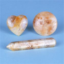 Honey & Cream Azeztulite Polished Gemstone Shapes