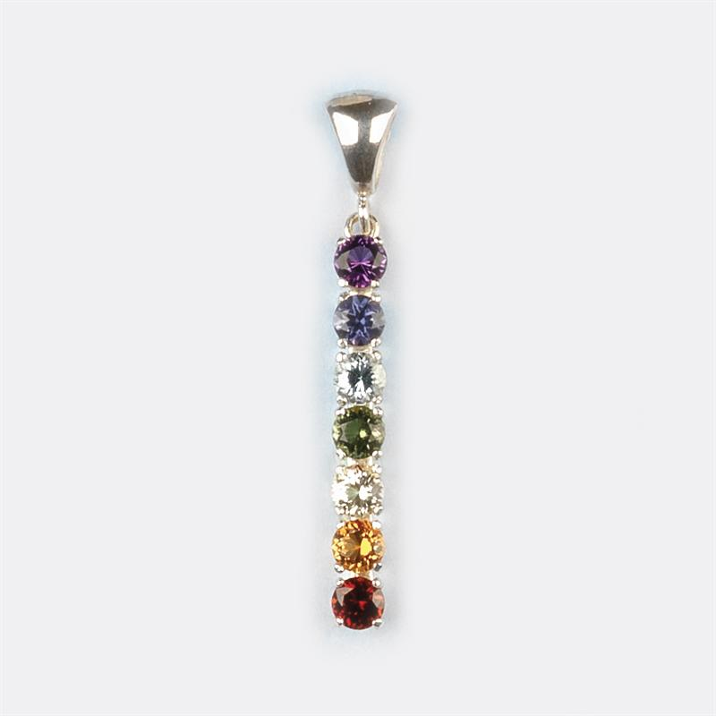 chakra pendant with 5mm faceted gemstones