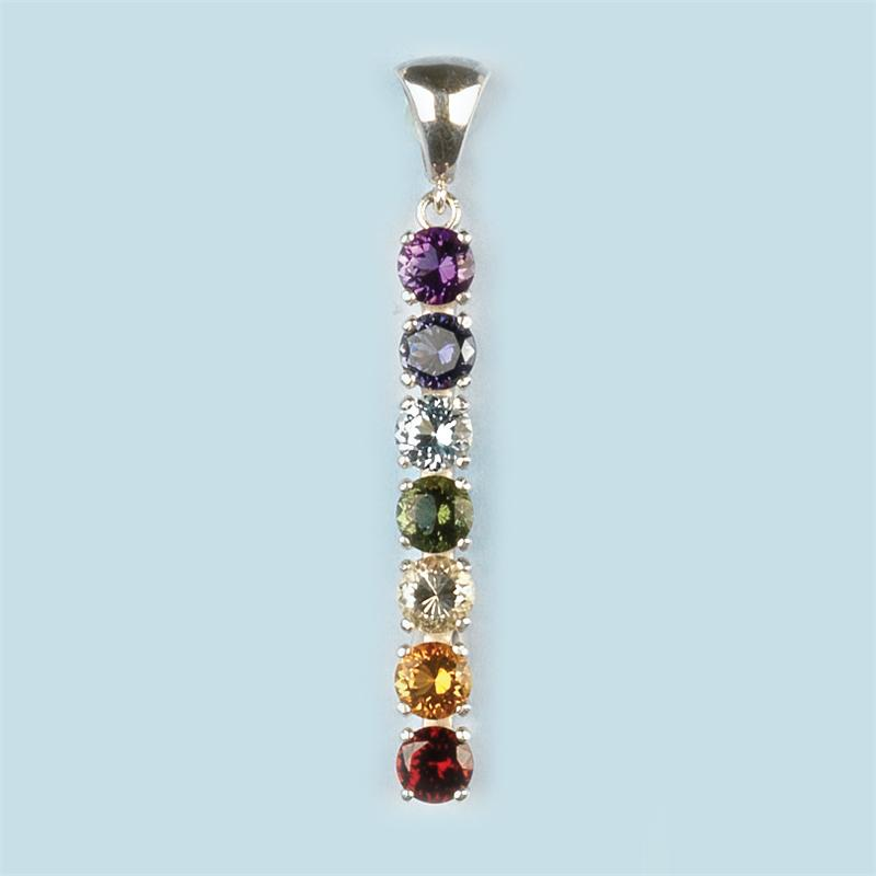 chakra pendant with 6mm faceted gemstones