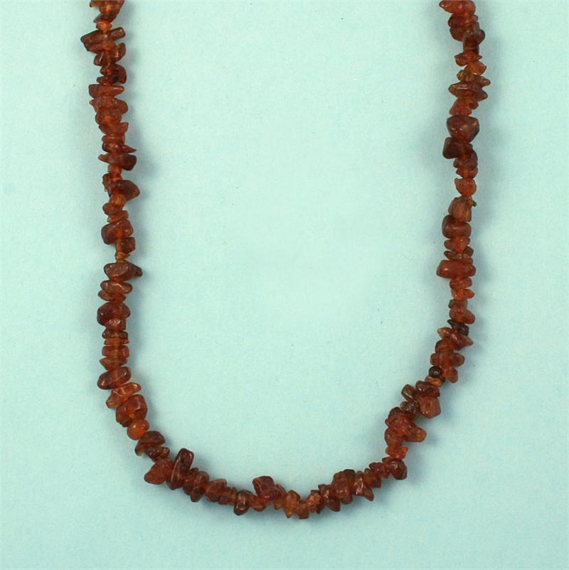 hessonite garnet polished nugget necklaces