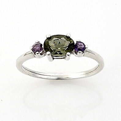 Moldavite Faceted Ring Oval 7x5mm Gemstone With Amethyst